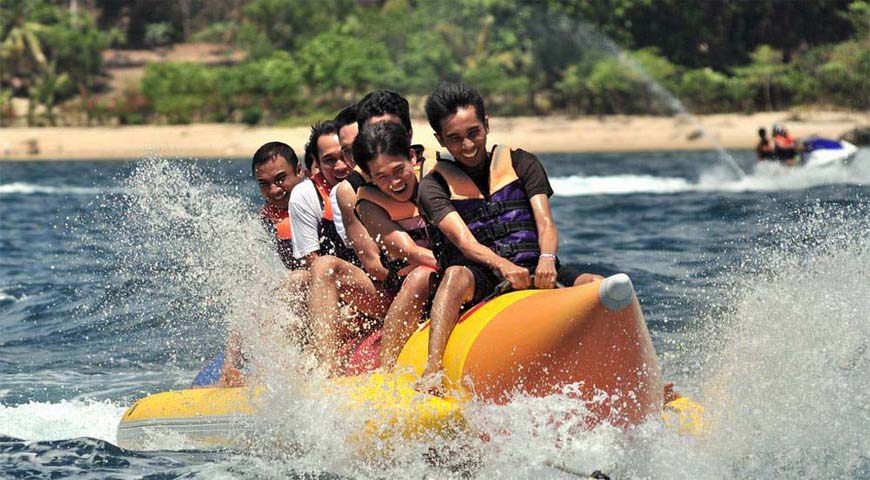 Andaman Lagoons - Popular Water Sports Activity or Adventure Activity Banana Ride at Rajiv Gandhi Water Sports Complex or Andaman Water Sports Complex and North Bay or Coral Island at Port Blair, Elephant Beach at Havelock Island in Andaman Islands