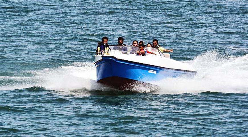 Andaman Lagoons - Popular Water Sports Activity or Adventure Activity Speed Boat Ride at Corbyn's Cove Beach, Rajiv Gandhi Water Sports Complex or Andaman Water Sports Complex and North Bay or Coral Island at Port Blair in Andaman Islands