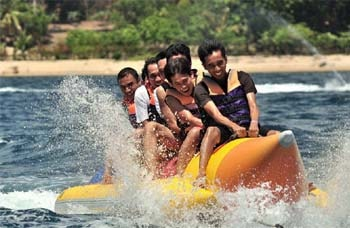 Andaman Lagoons - Popular Water Sports Activity or Adventure Activity Banana Ride at Rajiv Gandhi Water Sports Complex or Andaman Water Sports Complex and North Bay or Coral Island at Port Blair, Elephant Beach at Havelock Island, Bharatpur Beach at Neil Island in Andaman Islands