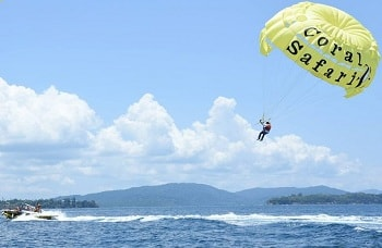 Andaman Lagoons - Popular Water Sports Activity or Adventure Activity Parasailing at Corbyn's Cove Beach at Port Blair in Andaman Islands