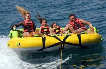 Andaman Lagoons - Popular Water Sports Activity or Adventure Activity Sofa Ride at Rajiv Gandhi Water Sports Complex or Andaman Water Sports Complex and North Bay or Coral Island at Port Blair, Elephant Beach at Havelock Island in Andaman Islands